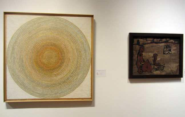"""Shanti Bindu"" by Raza, left, ""Untitled""by Husain, right"