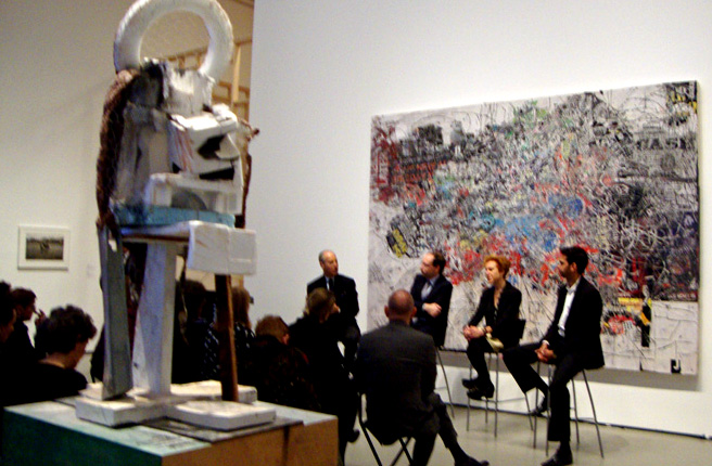 """Giant' by Bradford, foreground, ""Bleekman"" by Bhabha, left"