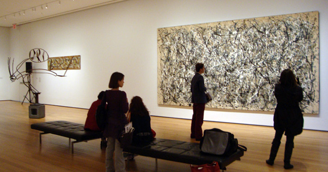 """Australia"" by David Smith, left, and ""Untitled 1A"" by Pollock, right"