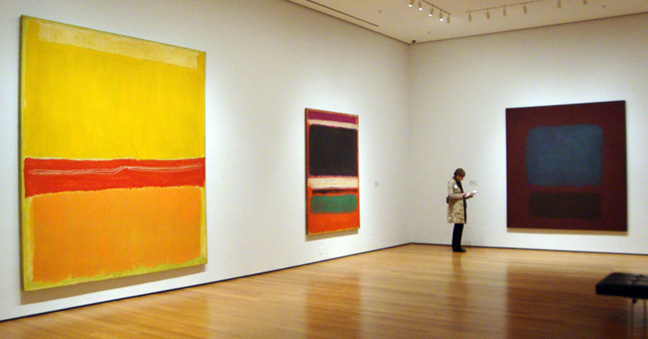 """No. 5/No. 22,"" left, ""No. 3/No.13"" center; ""No. 37/No. 19"" right, all by Rothko"