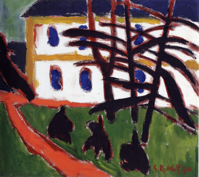 """Tannen vor weissem Haus/Fir Trees in Front of a White House"" by Schmidt-Rottluff"