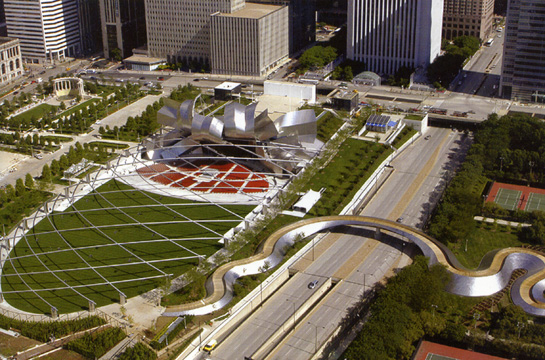 BP Bridge, Pritzker Pavilion by Gehry