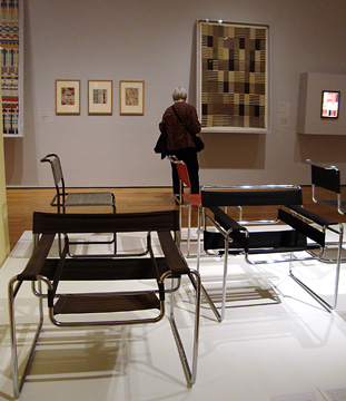 Club chair by Breuer and wall hanging by Anni Albers