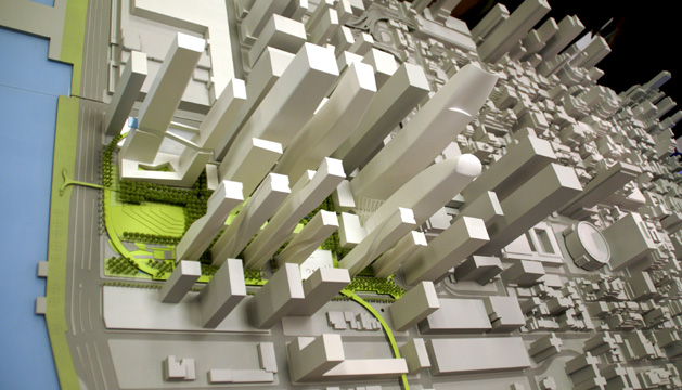 Model shows relationship to Madison Square Garden and unusual configuration of six towers on south side designed by SHoP Architects