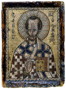 Portable mosaic icon with Saint John Chrysostom