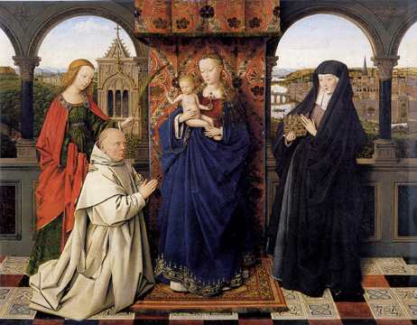 Virgin and Child with Saints Barbara and Elizabeth and Jan Vos by Jan van Eyck