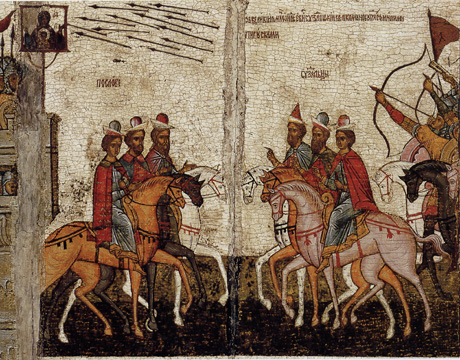 Icon with the Battle of Novgorod and Suzdal'