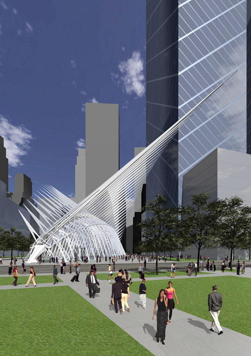 Rendering of railroad terminal near Ground Zero