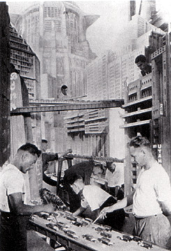 "Art directors at work on set of ""Metropolis"""
