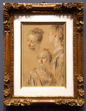 """Three Studies of Female Heads"" by Watteau"