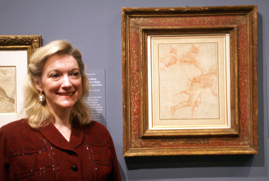 """Carmen C. Bambach, curator of drawings and prints with ""Study of Soldiers from the Conversion of Saul"" by Raphael"