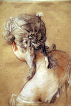 """Bust of a Young Woman in a Shift with Her Hair Tired Up, Seen from Behind,"" by Boucher"