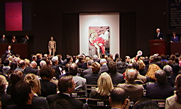 "Auction room scene for bidding on ""Red Butt (Distance)"" by Jeff Koons, center"