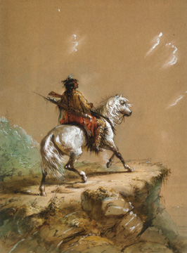 """Crow Indian on the Lookout"" by Alfred Jacob Miller"