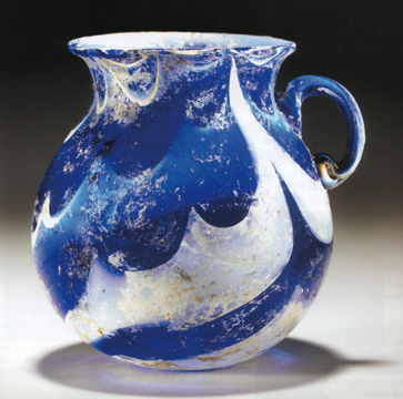 Roman marbled glass jar
