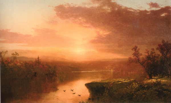 """Sunset over Lake George"" by Kensett"