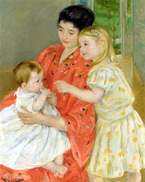 """Mother and Sara Admiring The Baby"" by Mary Cassatt"