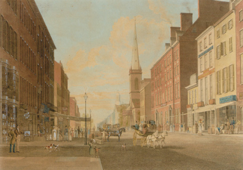 """Broadway Looking South from Liberty Street"" by John William Hill"