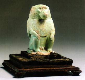 Faience figure of a baboon