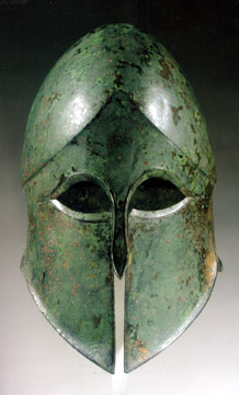 Greek bronze helmet