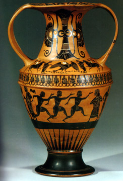 Attic black-figured Nikosthenic amphora