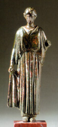Greek bronze figure of a woman