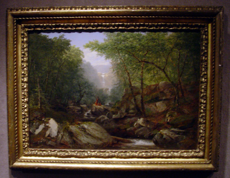 """Waterfall in the Woods with Indians"" by Kensett"