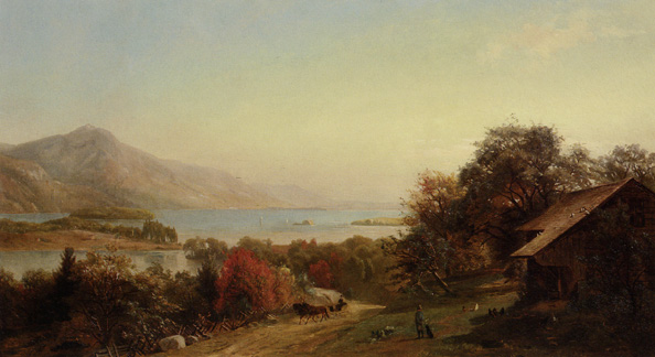 """Log Cabin Along the Hudson"" by Hermann Fueschel"