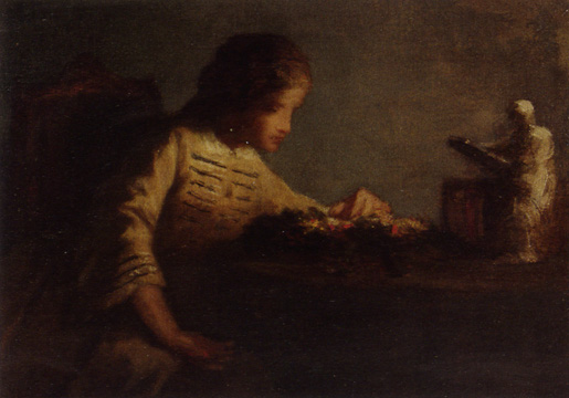 """Young Girl at Table with Sculpture"" by William Morris Hunt"
