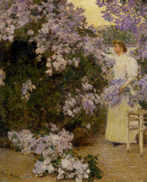 """Mrs. Hassam in the Garden"" by Hassam"