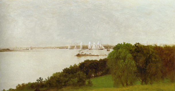 """Newport Harbor and the Home of Ida Lewis"" by Kensett"
