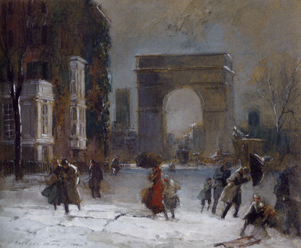 """Washington Square Park in Winter"" by Shinn"