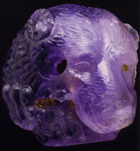 Greek amethyst cameo of head of a bear