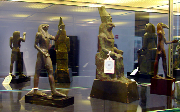 Horus striding, Horus seated and Seth