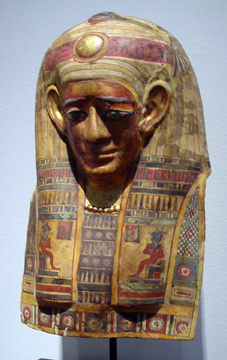 Polychromed and gilt cartonnage mummy mask