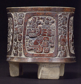Mayan carved tripod vessel