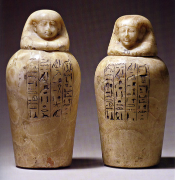 Banded alabaster canopic jars