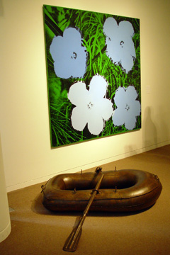 """Flowers""  by Warhol, above, and ""Lifeboat"" by Koons, below"
