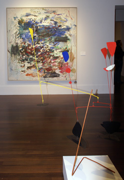 """Atlantic Side"" by Mitchell, rear, and ""Prelude to the Man-eater"" by Calder, foreground"