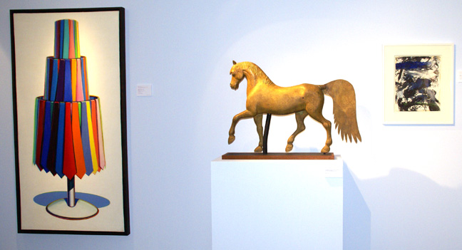 """Tie rack"" by Thiebaud, Gilt horse weathervane, and ""Untitled"" by Michael Goldberg"