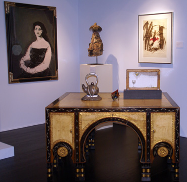 "Bugatti desk and ""Woman with Dodecahedron"" by Graham"