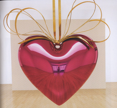 """Hanging Heart (Magenta/Gold"" by Koons"