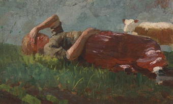 """Shepherd Girl Resting"" by Homer"