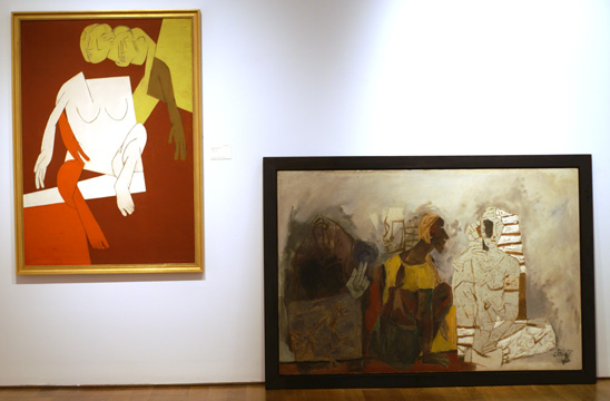 """Yellow Heads"" by Mehta, left, and ""Ritual"" by Hussein, right"