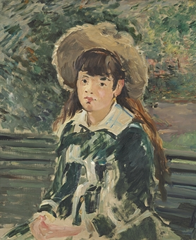 """Filette sur un banc"" by Manet"
