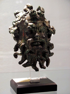 Roman bronze Silenus mask applique