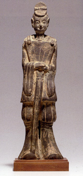 Dark Grey Pottery Figure of an Official