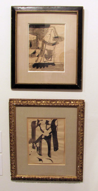 """Untitled"" by Gorky, top, and ""Woman Study"" by de Kooning, bottom"