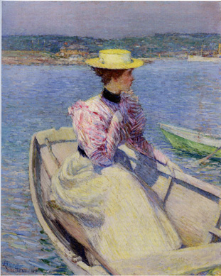 """The White Dory, Gloucester"" by Hassam"