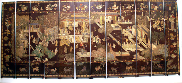 Palace scene coromandel screen